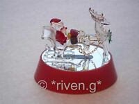Light Up SANTA & SLEIGH~Glass~CHRISTMAS Gift~Unique TABLE DECORATION@REINDEER