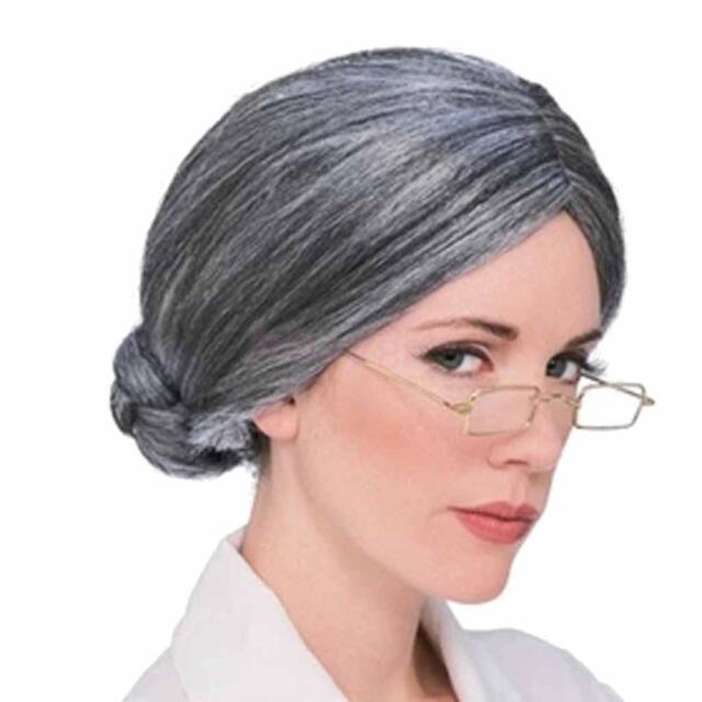 Old lady Grey Granny Bun Wig Fancy Dress Accessory Granny Teacher Nurse
