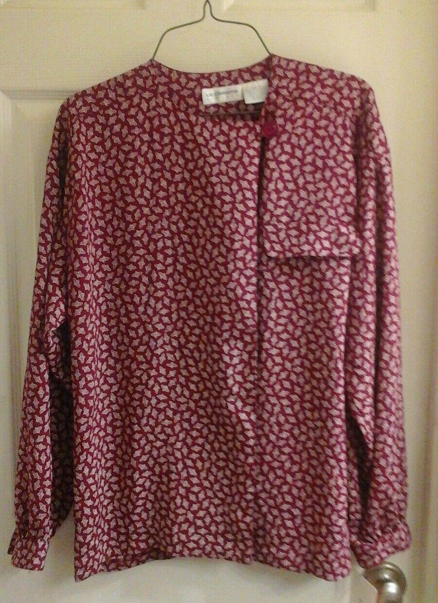 514d8e64fd7edb Liz Claiborne blouse women's size 8, burgundy & white, polyester, long  sleeve