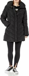 Steve-Madden-Women-039-s-Long-Chevron-Quilted-Outerwear-Jacket-Black-2XL