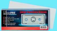 100 Ultra Pro Large Size Currency Soft Poly Sleeve Holder Storage Us Note Bill