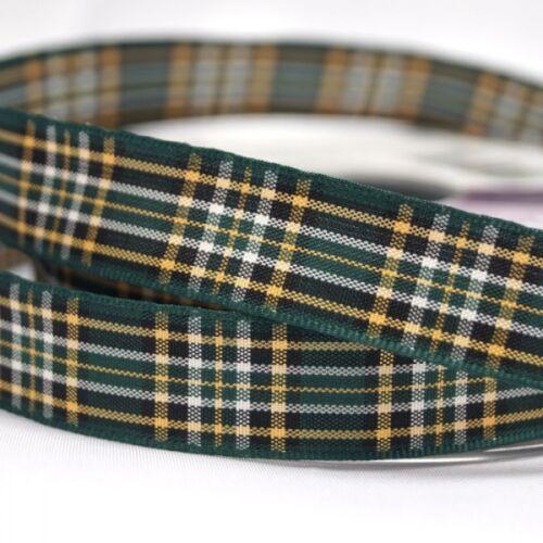 Berisfords national irlandais Tartan Écossais tissé ruban de 7mm 40mm