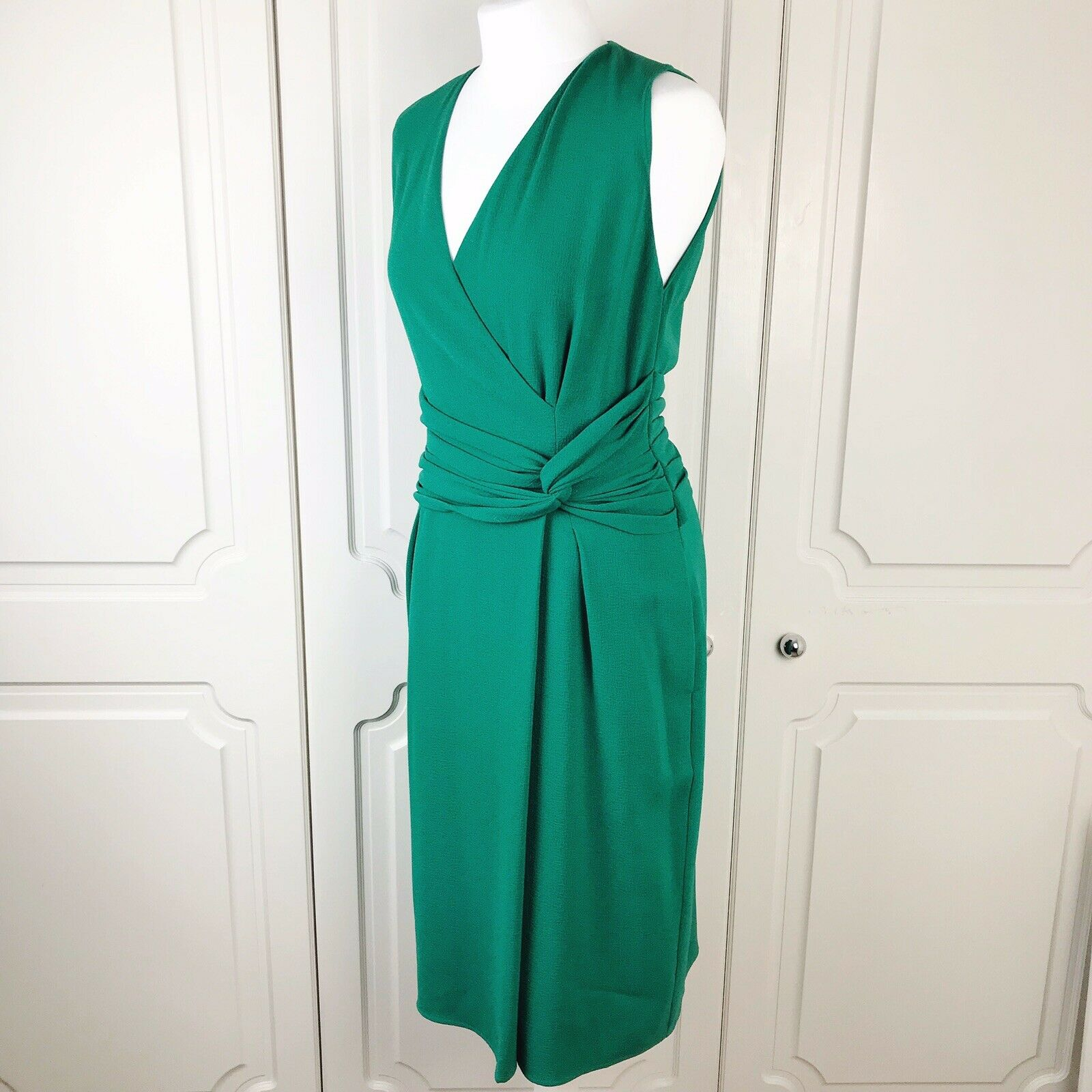 Whistles Emerald Green Textured Crepe Ivy Twist Shift Dress Size 12 VGC
