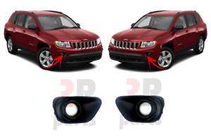 Para Jeep Compass 2011-2017 Luz Antiniebla Parachoques Delantero Parrilla Conjunto De Par Izquierda /& Derecho