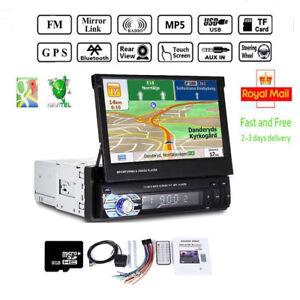 1-Din-Autoradio-mit-GPS-Navigation-Bluetooth-Touchscreen-MP5-USB-SD-Kamera
