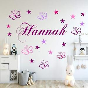 Details zu Wandtattoo Kinderzimmer Namen 19 Schmetterlinge+Sternen Baby  personalisiert