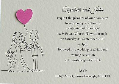 15 Handmade Personalised  Wedding Invitations Day / Evening **FREE POSTAGE**