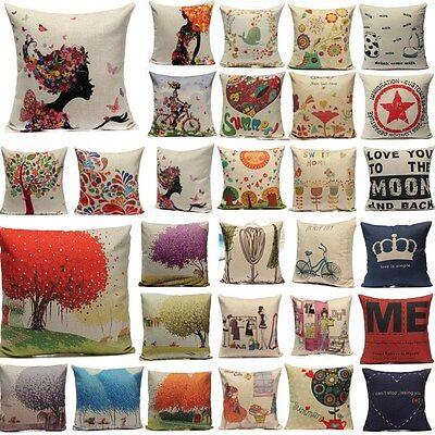 Xmas Vintage Linen Cotton Cushion Cover Throw Pillow Case Home Car Office Decor