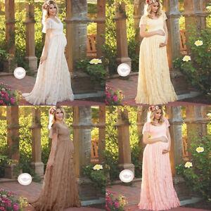 20bdb3c282091 Image is loading Pregnant-Women-Lace-Flounced-Long-Maxi-Maternity-Dress-