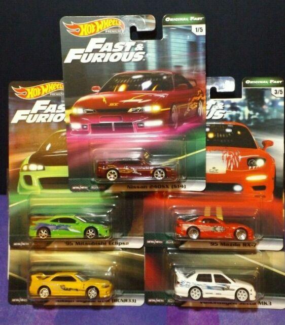 Hot Wheels Premium Original Real Riders Fast /& Furious Full Set Of 5 Cars