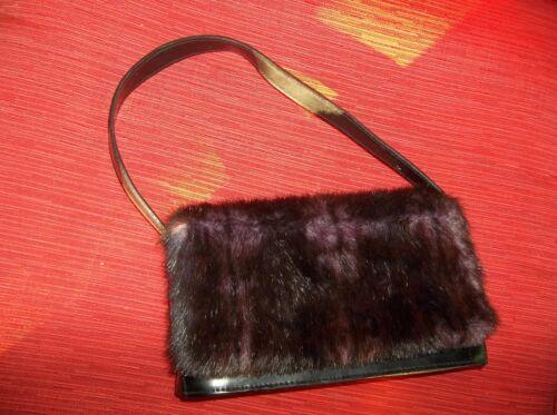 de visón de cuero púrpura imitación Satchel apariencia con negro de BAU5wqExn0