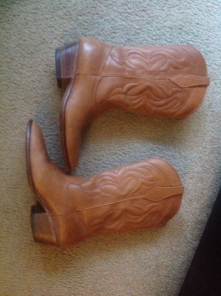 Pre-owned Calzado Sam-Lop Tan Leder Stiefel Größe 9 1/2
