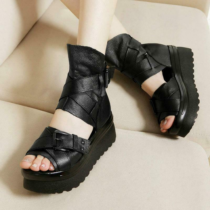 Womens Cow Leather Platform Wedge Gladiator Sandals Open Toe Creepers Punk Vogue