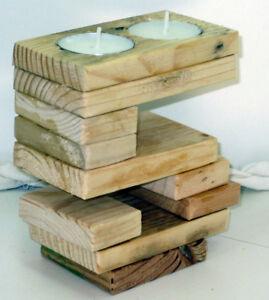 bougeoir chiffre 5 en bois, environ 12cm de haut 6 cm de profondeur