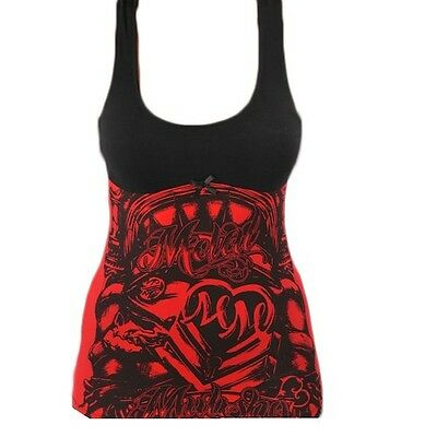 Metal Mulisha TARYN TANK Black Red Graphic Print Racer Back Junior's Top Shirt