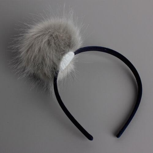 Fashion Enfant Filles Fourrure de lapin boule Pompon Boule Hairband Head Piece Headband
