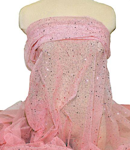 """COSTUME DRESS GLITTER TULLE NETTING SHEER..NEON RED// ORANGE 60 /""""  POLY"""