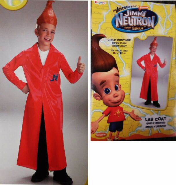 5cc7078fb73 Jimmy Neutron Boy Genius~Red Vinyl Lab Coat Child costume size 4 to 6 N4