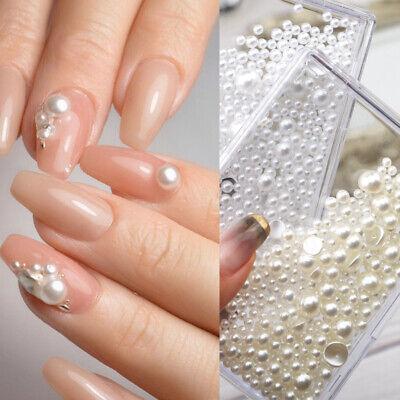 white beige nail art pearl beads rhinestones flatback uv