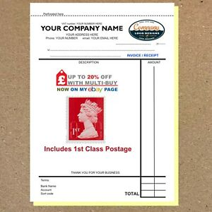 PERSONALISED TRIPLICATE A5 INVOICE BOOK - 50 Sets - NCR COLOUR  / Receipts