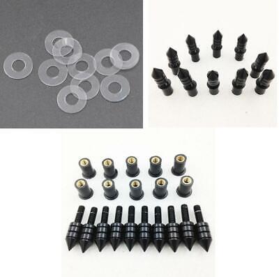 10x Motorcycle Windscreen Black Spike Bolt Kit Well Nuts// Bolts// Washers//Screws