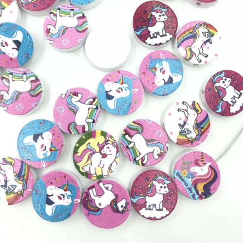 40PCS Mixed Round Wood Loose Beads Unicorn pattern For jewelry making Wood Beads