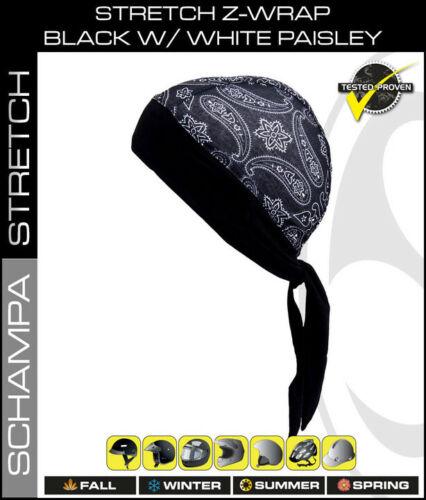 Schampa™ Stretch Z-Wrap Black w//White Paisley BNDNA003-1001 Lightweight Headwrap