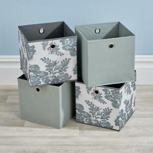Folding-2-Grey-2-Floral-Square-Storage-Utility-Box-Fabric-Cube-4pc-Basket-Set