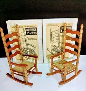 Shackman Doll House Miniature Ladderback Rocking Chair w/ Cane Seat Original Box