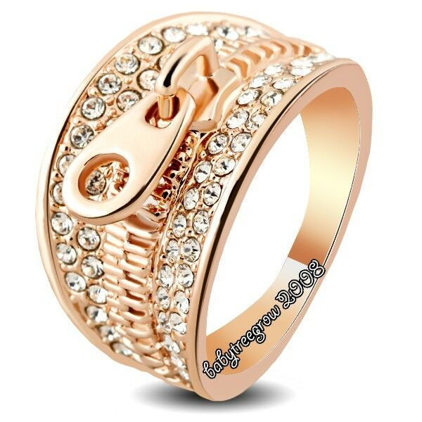 Cool 18K Rose Gold GP Zipper Swarovski Crystal Fashion Ring M736