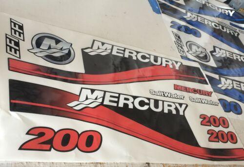 Ruder- & Paddelboote Mercury Außenbordmotor 200HP Salzwasser Aufkleber Refresher Set 125-250 HP'S