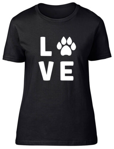 Love Dogs Paw Print Womens Ladies Fitted T-Shirt
