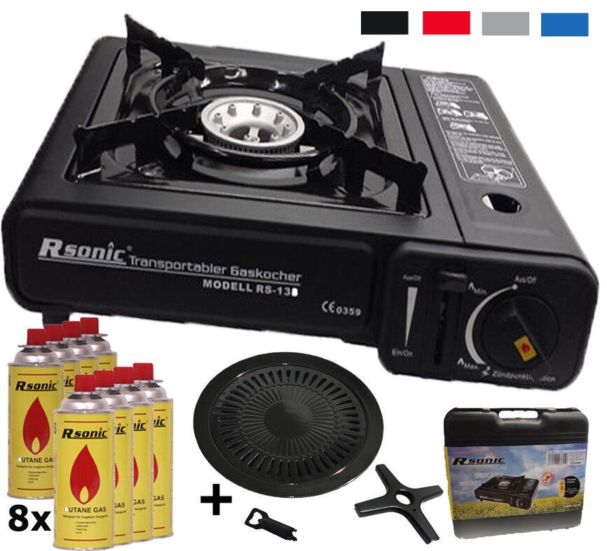 s l1600 - Camping Cocina de Gas + 8 X Kar Aplicar el Rimel + Bandeja Del Grill +