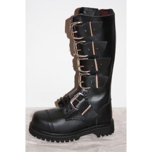 HLS Ranger Stiefel Stiefel 20 Loch Schnallen Leder Stahlkappe schwarz