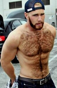 SHIRTLESS MALE MUSCULAR Hairy Chest Beard Abs Hunk