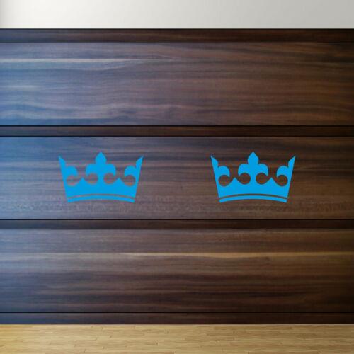 2 Autocollant Couronne 12 cm bleu Tatouage Chambre Enfant Voiture Fenêtre MEUBLES DECO diapositive