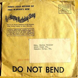 HAPPY BIRTHDAY SONG record in original mailer MINNESOTA VALLEY CANNING COMPANY