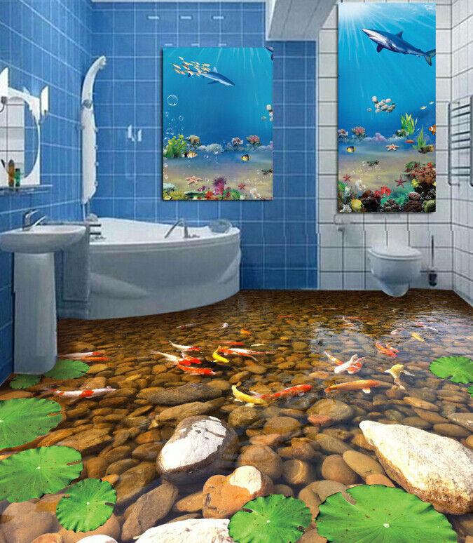 3D Fluss Karpfen 433 Fototapeten Wandbild Fototapete Tapete Familie DE Lemon