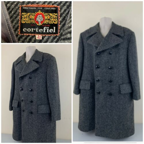 Vintage Cortefiel 100% Wool Mens Long Coat Size 42