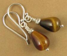 Tiger eye earrings.Brown. Teardrop /pear. Fire. Sterling silver. Handmade.