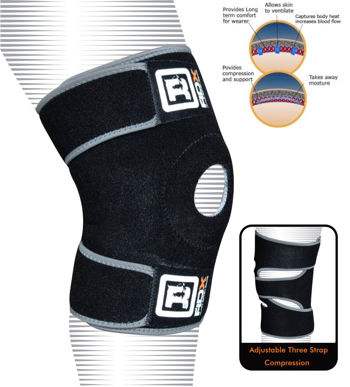RDX Neoprene Knee Brace Support Pad Strap Guard MMA Predector  Gel Sports Work U  quality product