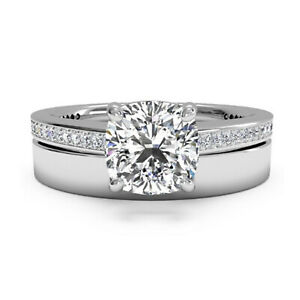 1.05 Ct Cushion Real Moissanite Engagement Band Set Solid 18K White Gold Size 7