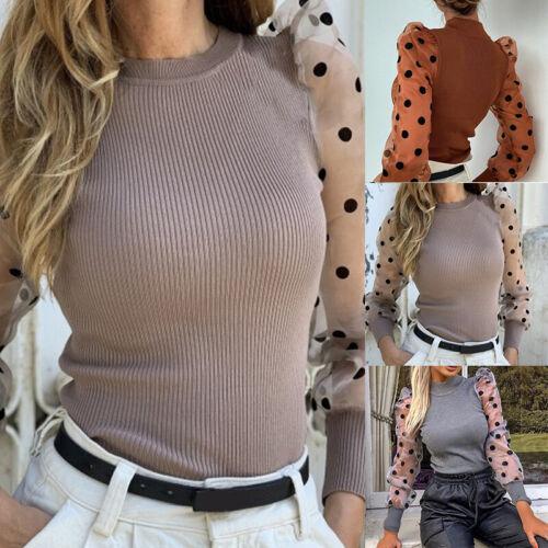 Womens Mesh Sheer Puff Sleeve Ribbed Spot Polka Dots Jumper Top T Shirt BlouseVQ