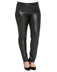 MARINA RINALDI Women/'s Black Ocraceo Faux Leather Accent Pants $315 NWT