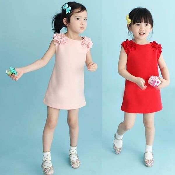 Kids Girls Floral Sleeveless Princess Tutu Dress Solid Baby Party Skirts Clothes