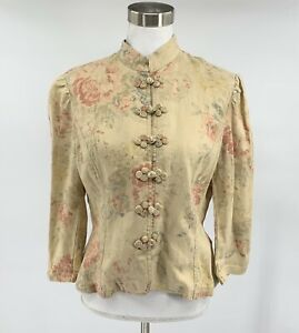 Lauren-Ralph-Lauren-Women-s-Button-Down-Jacket-Tan-Size-M-Floral-Linen-F11