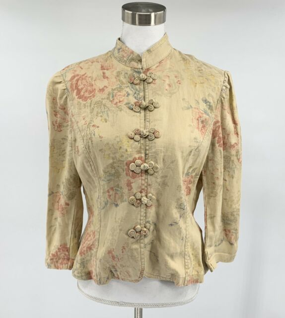 Lauren Ralph Lauren Women's Button Down Jacket Tan Size M Floral Linen F11
