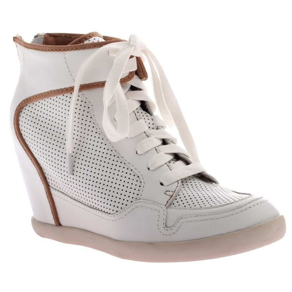 Damenschuhe Hi High Top Wedge Heel Schuhes Lace Up Laced Sneakers WEISS Urban 6-10