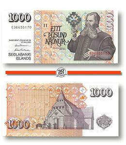 UNC P#59a 2009 Iceland 1000 Kronor 2001