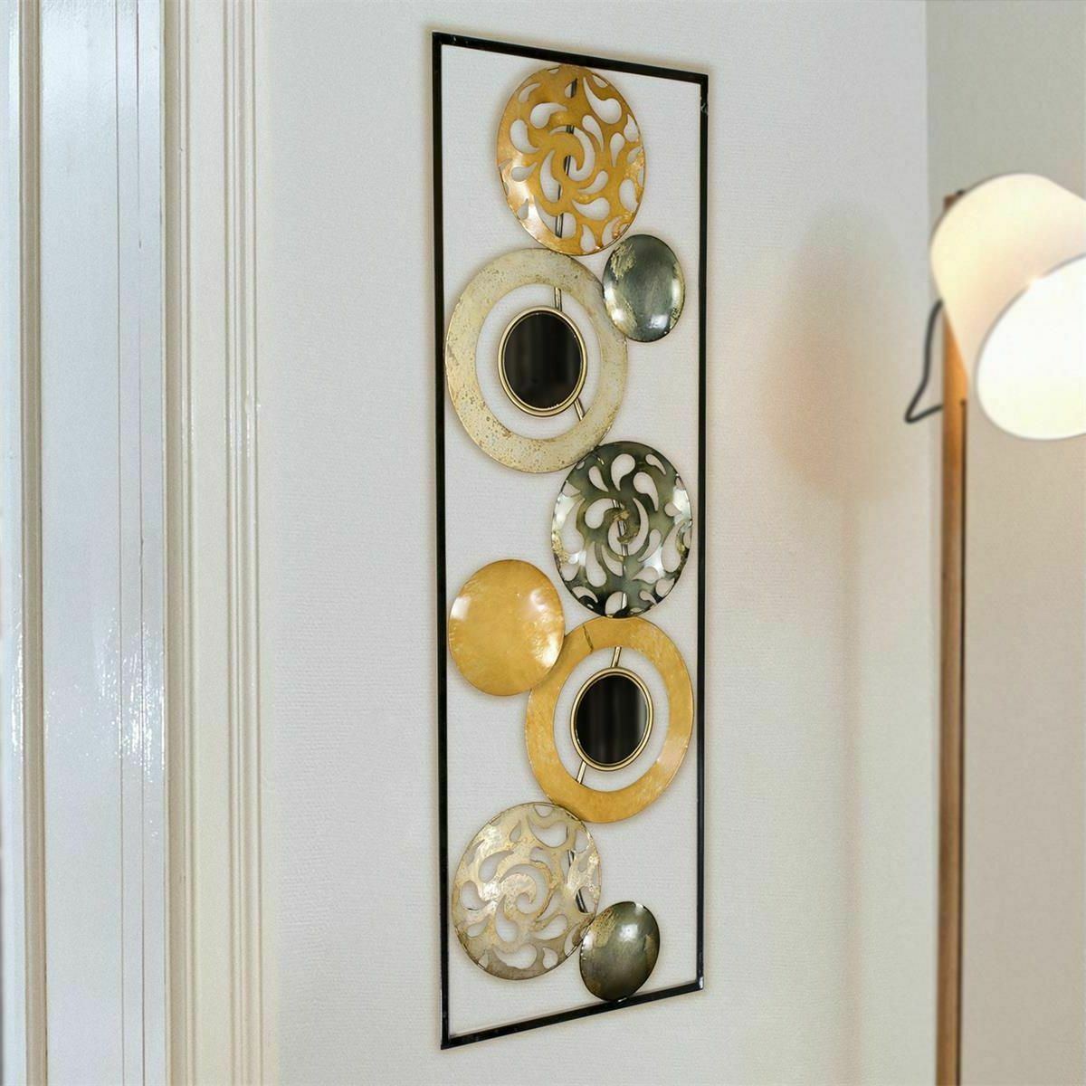 Metallbild Wandbild Kreise Ringe 31x90cm silber Gold gerahmt Wanddeko
